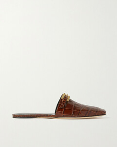 Rado Buckled Croc-effect Leather Slippers
