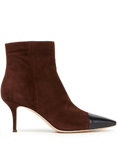 Woman Lucy Two-tone Leather And Suede Ankle Boots