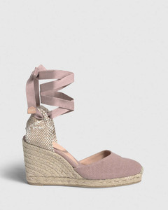 Carina. Wedge espadrille made of canvas 9cm - Dusty Pink