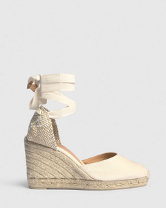 Espadrille with wedge Carina made in canvas 9cm - Ivory