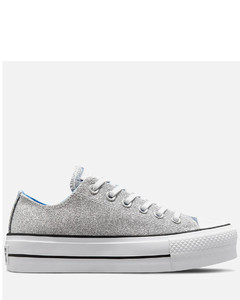 Women's Chuck Taylor All Star Hybrid Shine Lift Ox Trainers - Silver/University Blue/White
