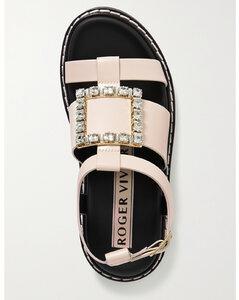 Viv Rangers Crystal-embellished Leather Sandals