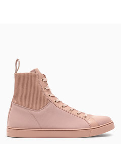 Pink leather high-top sneakers