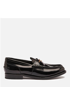 Women's Carter Logo Letters Leather Loafers - Black