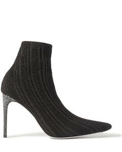 Woman Crystal-embellished Metallic Ribbed-knit Sock Boots