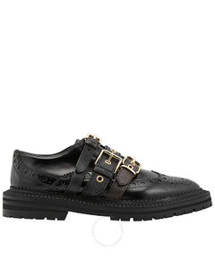 Ladies Leather Brogues With Buckle Straps In Black