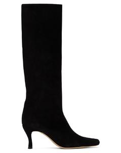 黑色Stevie 42绒面革中筒靴
