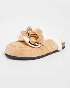 连毛羊皮链条乐福鞋