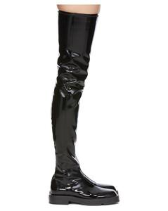 黑色漆皮高筒靴