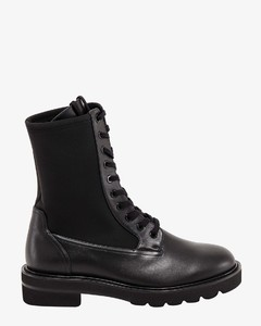 Leather and nylon ankle boots