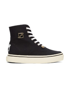 黑色方头高帮运动鞋