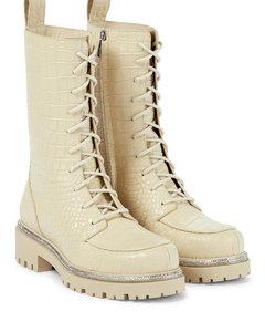 鳄鱼纹路皮革战地靴
