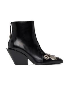 黑色Embellished踝靴