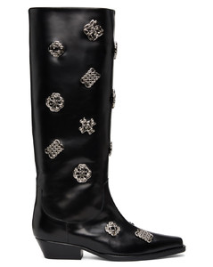 黑色Embellished高筒靴