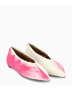 Pink and white pointed ballerinas
