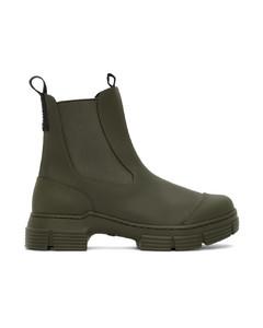 军绿色City再生橡胶踝靴