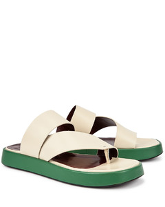 Fly cream leather flatform thong sandals