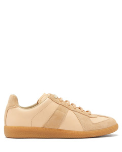 Replica suede-panel leather trainers