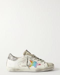 Superstar亮片金葱仿旧皮革绒面革运动鞋