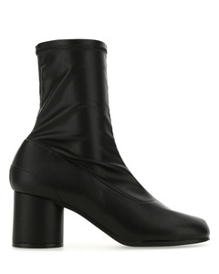 Black leather Tabi ankle boots