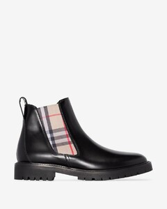 black Vintage Check Chelsea boots