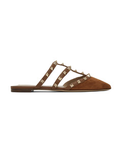 棕色Valentino Garavani Rockstud绒面革穆勒鞋