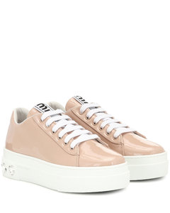 Embellished patent leather sneakers
