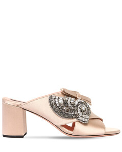 60mm Crystals Embellished Satin Mules