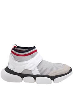 White Black Velcro Suede Trim Sock Sneakers