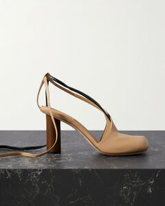 Geraldine Asymmetric Two-tone Leather Sandals