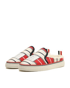 Striped sneaker slides