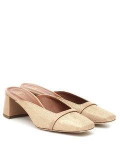 Carmen 45酒椰葉纖維和皮革穆勒鞋