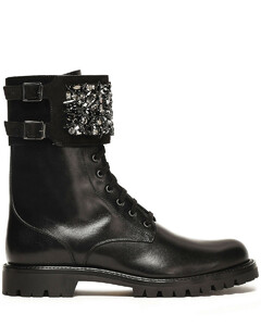 Woman Crystal-embellished Suede-paneled Leather Ankle Boots