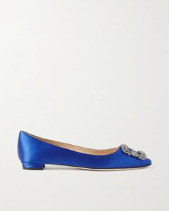 Hangisi Embellished Satin Point-toe Flats