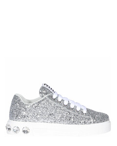 Crystal Embellished Glitter Sneakers