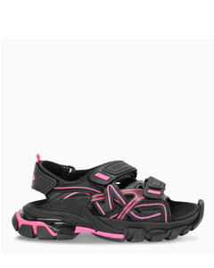 Black and fluo pink Track sandals