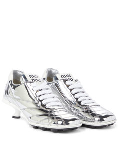 Metallic leather sneaker pumps