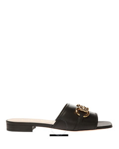 Ladies Horsebit Slide Leather Sandals In Black