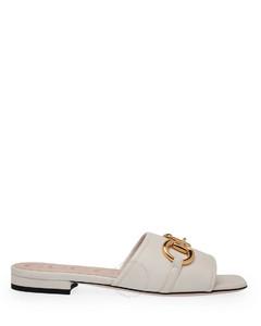 Ladies Horsebit Slide Leather Sandals In White