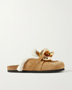 Chain-embellished Shearling-lined Suede Slippers