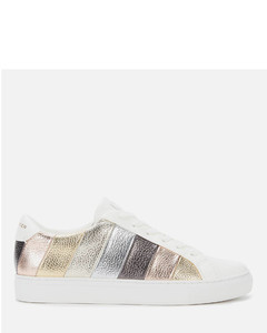 Women's Lane Stripe Leather Cupsole Trainers - Gold Comb