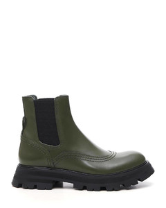 Khaki green/black leather ridged-sole ankle boots