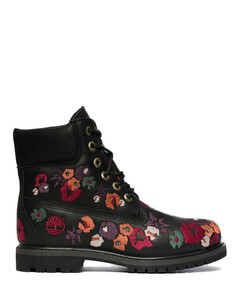 Six Inch Premium Embroidered Boots - Black