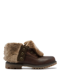 Authentics Shearling Fold Down Boots - Dark Brown
