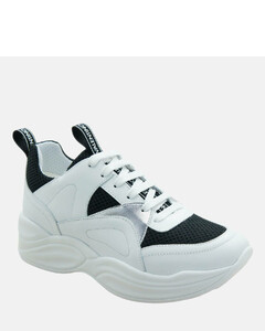 Women's Leather/Suede Chunky Running Style Trainers - Black/White