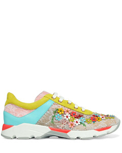 Woman Embellished Color-block Lace And Leather Sneakers