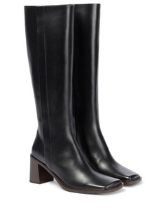 Patch knee-high leather boots