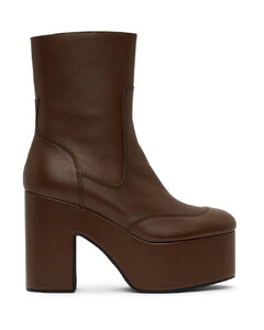棕色拉链踝靴