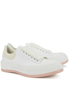 Deck white canvas sneakers