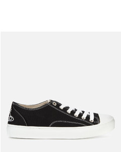 Women's Plimsoll Canvas Low Top Trainers - Black